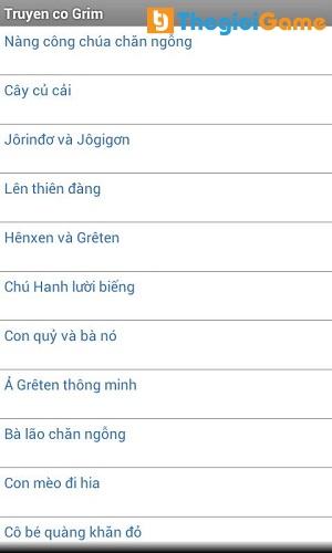 Danh sách các truyện có trong phần mềm Truyện cổ Grim